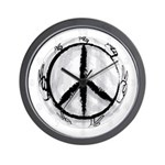 Black and White Peace Sign Modern Clock