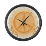 Orange Peace Sign Wall Clock