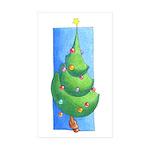 Christmas Tree White Rectangle Sticker 50 pk)
