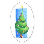 Christmas Tree White Oval Sticker (10 pk)