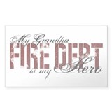 My Grandpa My Hero - Fire Dept Rectangle Decal