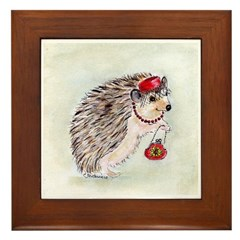 Fashionista Hedgie Hedgehog Framed Tile