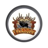 elkaholic elk hunter gifts Wall Clock