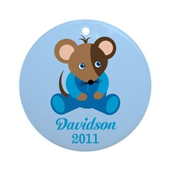 Personalized Name Baby Boy Mouse Ornament 2011
