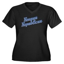 Reagan Republican (blue) Women's Plus Size V-Neck