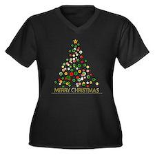 Merry Christmas Women's Plus Size V-Neck Dark T-Sh