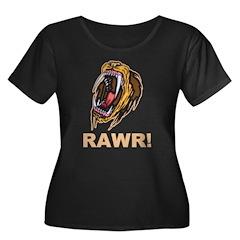 Lion Rawr Women's Plus Size Scoop Neck Dark T-Shir