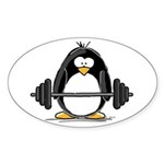 Weight lifting penguin Oval Sticker