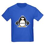 Weight lifting penguin Kids Dark T-Shirt