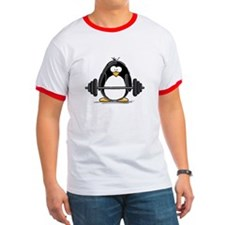 Weight lifting penguin T