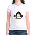 Weight lifting penguin Jr. Ringer T-Shirt