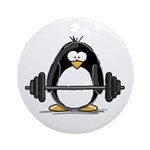 Weight lifting penguin Ornament (Round)