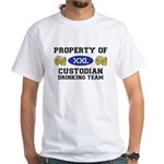 Property of Custodian Drinking Team White T-Shirt