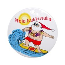Surfing Santa Hawaiian Christmas Ornament