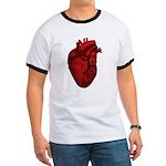 Vintage Anatomical Human Heart Ringer T-Shirt