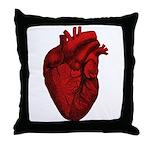 Vintage Anatomical Human Heart Throw Pillow