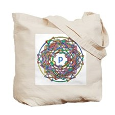 "Brightly colored monogram Tote Bag ""P"""