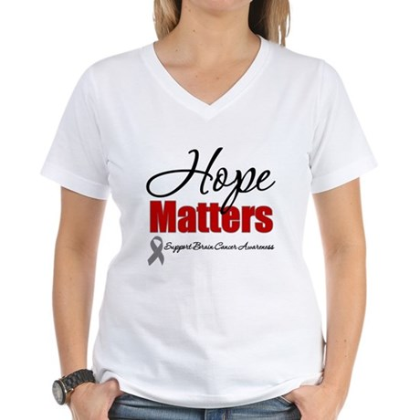 Hope Matters Brain Cancer Women's V-Neck T-Shirt