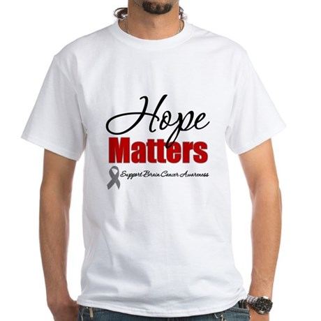 Hope Matters Brain Cancer White T-Shirt