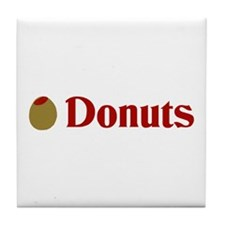 Olive (I Love) Donuts Tile Coaster