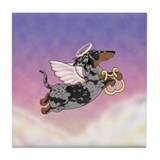 Silver Dapple Dachshund Angel Tile Coaster