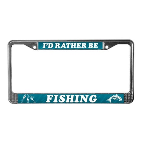 I 39 d rather be fishing license plate frame by jennscartoons for Fishing license plate
