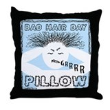 BAD HAIR DAY PILLOW Blue Throw Pillow