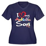 I Love My Autistic Son 2 Women's Plus Size V-Neck