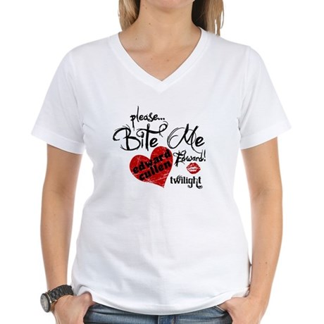 Bite Me Edward Cullen Women's V-Neck T-Shirt