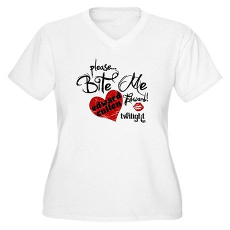 Bite Me Edward Cullen Women's Plus Size V-Neck T-S