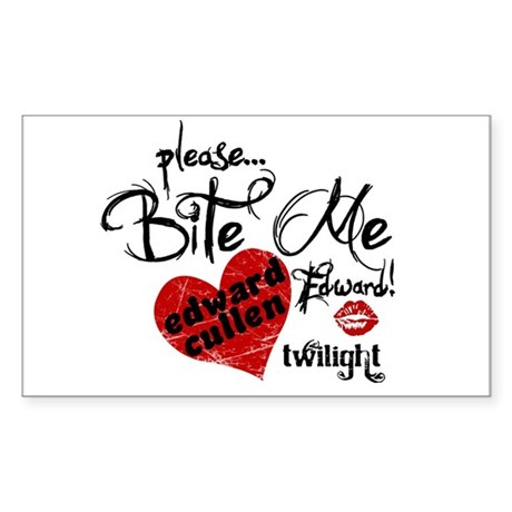 Bite Me Edward Cullen Rectangle Sticker