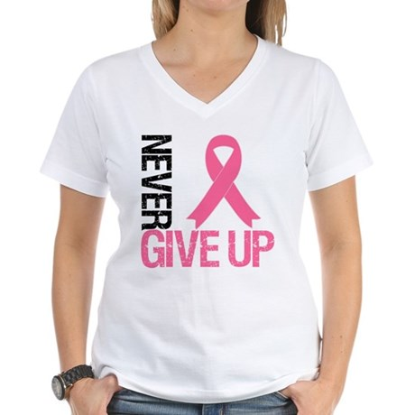 NeverGiveUp Breast Cancer Women's V-Neck T-Shirt