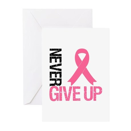 NeverGiveUp Breast Cancer Greeting Cards (Pk of 10