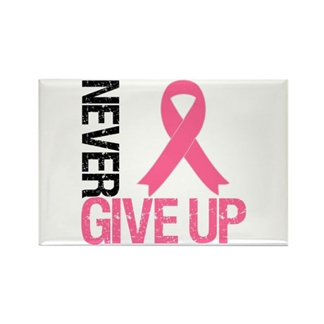 NeverGiveUp Breast Cancer Rectangle Magnet