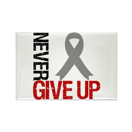 NeverGiveUp Brain Cancer Rectangle Magnet