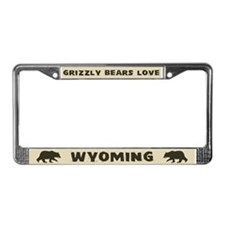 Grizzly Bears Love Wyoming License Plate Frame