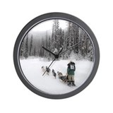 Cute Sled dog racing Wall Clock