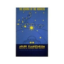 Vintage Adler Planetarium Chicago Rectangle Magnet