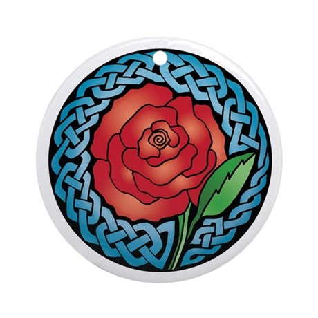 Celtic Stained Glass Rose Keepsake Ornament