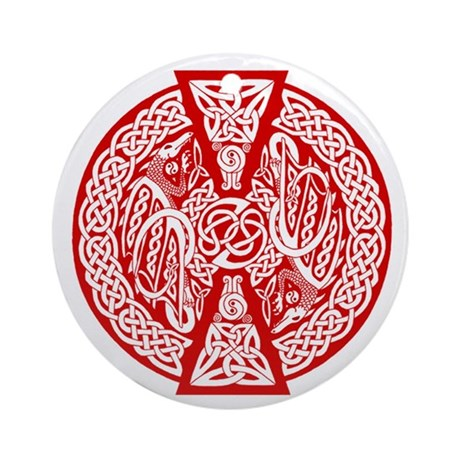Celtic Knotwork Dragons (red) Keepsake Ornament
