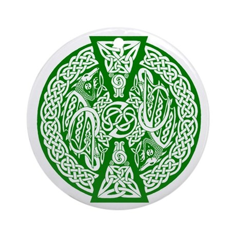Celtic Knotwork Dragons (Green) Keepsake Ornament