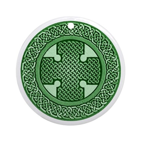 Celtic Cross in Green Knotwork Keepsake Ornament