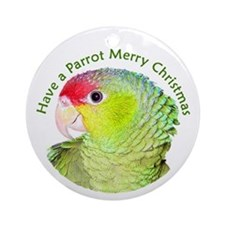 Amazon Parrot Merry Christmas Ornament (Round)
