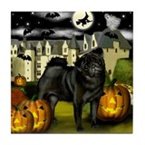 PUG DOG HALLOWEEN Tile Coaster