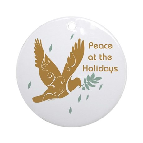 Golden Dove Holiday Ornament (Round)