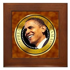 Obama Gold Seal Framed Tile