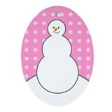 Pink Snowman Holiday Oval Ornament