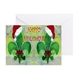 Happy Holidays Fleur de lis Greeting Cards (Pk of