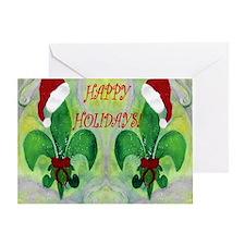 Happy Holidays Fleur de lis Greeting Card