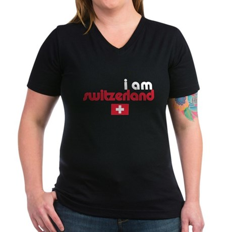I Am Switzerland Women's V-Neck Dark T-Shirt
